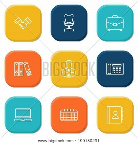 Set Of 9 Cabinet Outline Icons Set.Collection Of Contacts, Workplace, Telephone Directory And Other Elements.