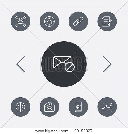 Set Of 9 Engine Outline Icons Set.Collection Of Marketing, Copyright, Stock Exchange And Other Elements.
