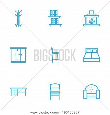 Set Of 9 Decor Outline Icons Set.Collection Of Bar Stool, Hanger, Sofa And Other Elements.