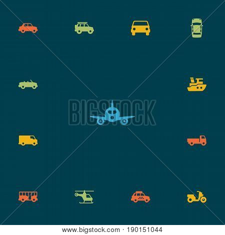 Set Of 13 Traffic Icons Set.Collection Of Taxicab, Side View, Car And Other Elements.