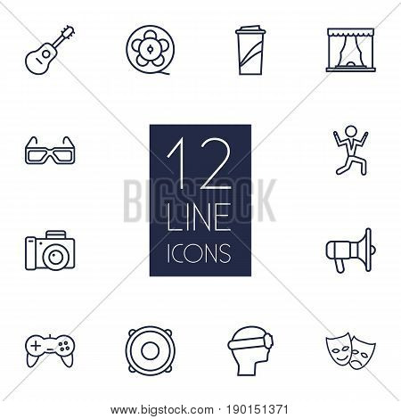 Set Of 12 Pleasure Outline Icons Set.Collection Of Photo Camera, Speaker, Soft Drink And Other Elements.