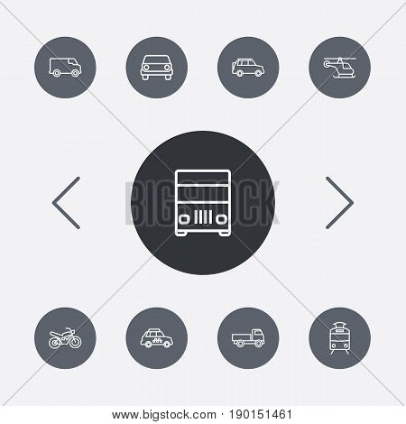 Set Of 9 Shipping Outline Icons Set.Collection Of Motorcycle, Truck, Van And Other Elements.