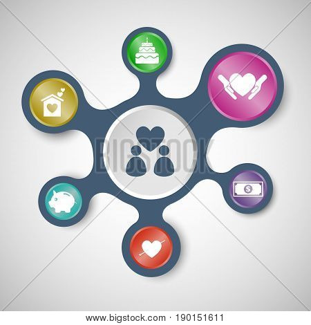 Family infographic templates with connected metaballs, stock vector