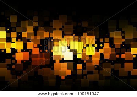 Black orange yellow vector abstract glowing background with random sizes rounded corners tiles
