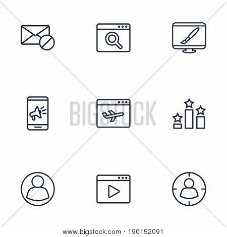 Set Of 9 Engine Outline Icons Set.Collection Of Home, Targeting, Guest And Other Elements.
