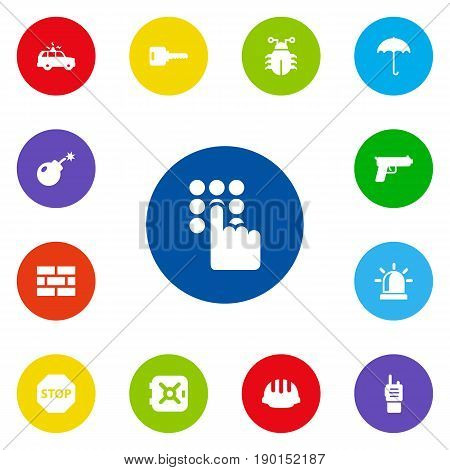 Set Of 13 Safety Icons Set.Collection Of Strongbox, Sign, Virus And Other Elements.