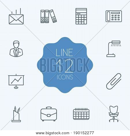 Set Of 12 Bureau Outline Icons Set.Collection Of Pen Storage, Show, Date And Other Elements.