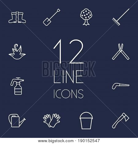 Set Of 12 Horticulture Outline Icons Set.Collection Of Pail, Waterproof Shoes, Spade And Other Elements.