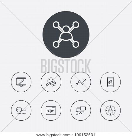 Set Of 9 Optimization Outline Icons Set.Collection Of Marketing, Stock Exchange, Style And Other Elements.