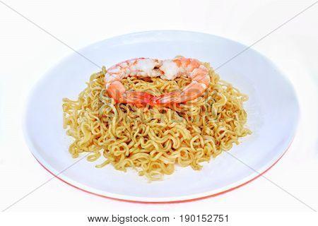 Noodles with prawns, dried/Kuy Teav dry/ Drunken noodles, shrimp.