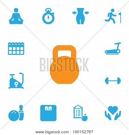 Set Of 13 Fitness Icons Set.Collection Of Weights, Kegling, Heart In Hand Elements.