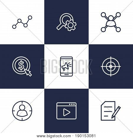 Set Of 9 Engine Outline Icons Set.Collection Of Cost Per, Item Identifier And Other Elements.