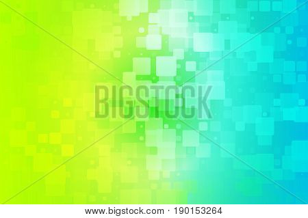 Yellow teal blue green shades vector abstract glowing background with random sizes rounded corners tiles