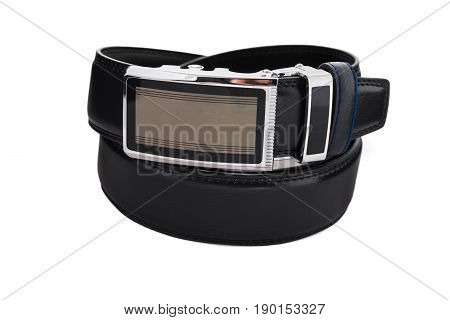 Rolled men's fashionable black leather belt with metal buckle isolated on white background