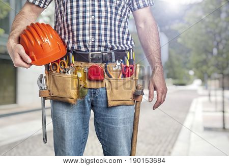 portrait of handyman ready to work