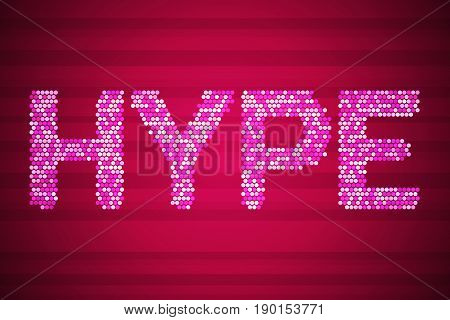 Hype. High tech vector illustration on red. Social media technology with glow dots background