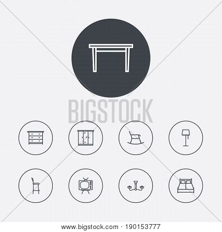 Set Of 9 Set Outline Icons Set.Collection Of Drawer Unit, Bar Stool, Chandelier Elements.