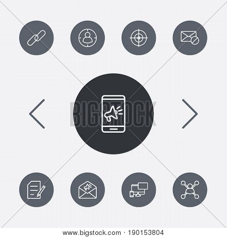 Set Of 9 Optimization Outline Icons Set.Collection Of Keywords, Style, Marketing And Other Elements.