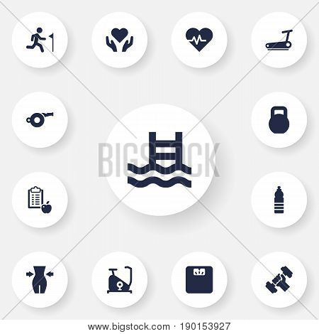 Set Of 13 Bodybuilding Icons Set.Collection Of Weights, Treadmill, Heart In Hand Elements.