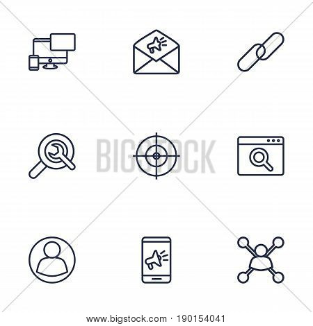 Set Of 9 Optimization Outline Icons Set.Collection Of Advertising, Stock Exchange, Scan And Other Elements.