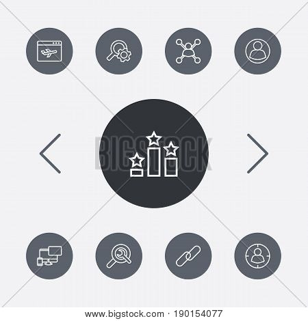 Set Of 9 Optimization Outline Icons Set.Collection Of Choice, Url, Targeting And Other Elements.
