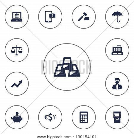 Set Of 13 Finance Icons Set.Collection Of Terminal, Judge, Grown And Other Elements.
