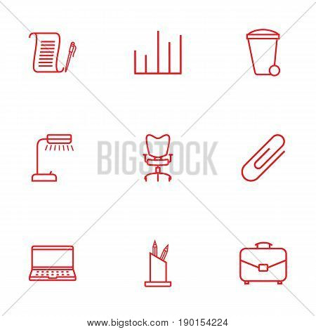 Set Of 9 Cabinet Outline Icons Set.Collection Of Fastener Paper, Notebook, Chart And Other Elements.