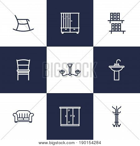 Set Of 9 Situation Outline Icons Set.Collection Of Hanger, Chair, Closet And Other Elements.