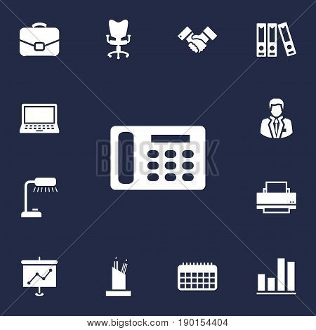 Set Of 13 Bureau Icons Set.Collection Of Table Lighter, Diagram, Diplomat And Other Elements.