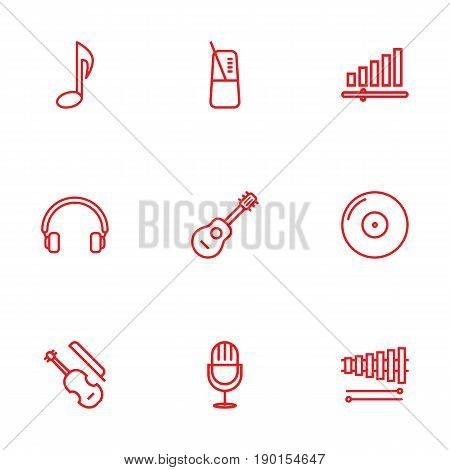 Set Of 9 Song Outline Icons Set.Collection Of Gramophone, Wooden Block, Musical Sign And Other Elements.