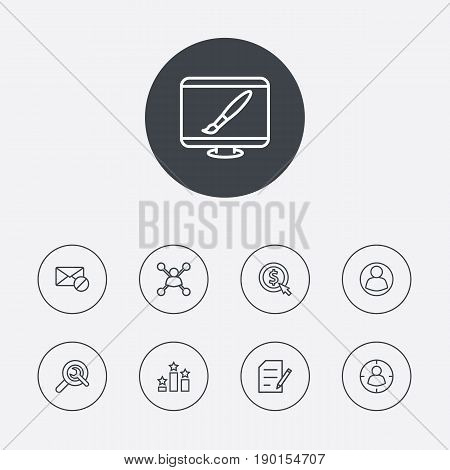 Set Of 9 Search Outline Icons Set. Cost Per, Stock Exchange And Other Elements.