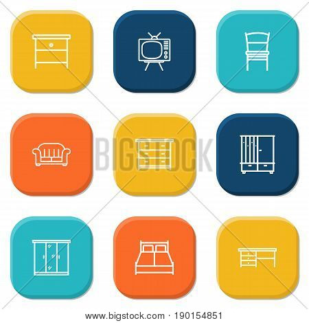 Set Of 9 Decor Outline Icons Set.Collection Of Hall Tree, Desk, Tv Set And Other Elements.