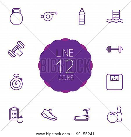 Set Of 12 Bodybuilding Outline Icons Set.Collection Of Pool, Stopwatch, Water Bottle And Other Elements.