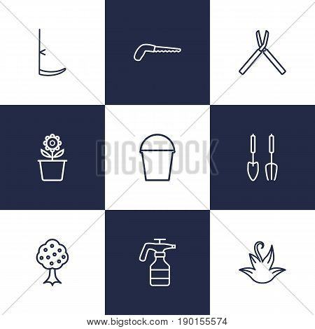 Set Of 9 Horticulture Outline Icons Set.Collection Of Instruments, Arm-Cutter, Plant Pot And Other Elements.