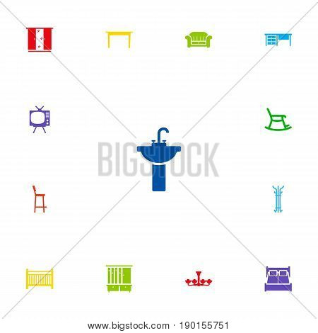 Set Of 13 Decor Icons Set.Collection Of Wardrobe, Luster, Cot And Other Elements.
