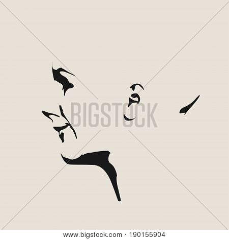 Face side view. Elegant silhouette of a female head. Vector Illustration. Monochrome gamma. Emotions of happiness