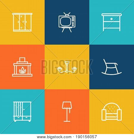 Set Of 9 Set Outline Icons Set.Collection Of Closet, Tv Set, Sofa And Other Elements.