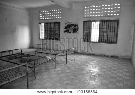 PHNOM PHEN CAMBODIA 03 25 13: Torture bed in the Khmer Rouge high school S-21 turned into a torture and execution center. 14,000 people known to have entered, only seven survived. Phnom Phen Cambodia.