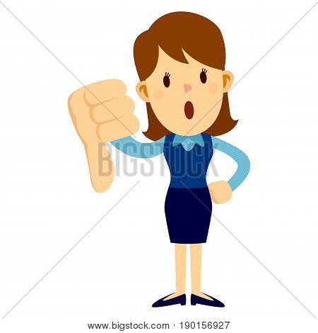 Business woman standing and giving big thumbs down disappointment