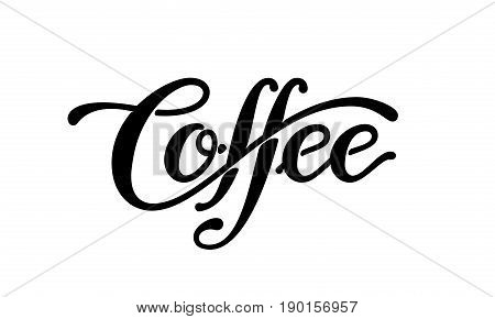 Coffee. Linear lettering isolated on white background. Eps8. RGB Global color