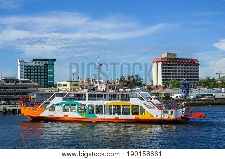 Labuan,Malaysia-May 26,2017:Brunei vehicle & passenger ferry service known as Shuttle Hope from Brunei Darussalam to Labuan,Malaysia.Shuttle Hope, Brunei's own ferry,can carry 45 sedans and 200 passengers.