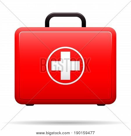 First aid kit. Red case with medical emblem. Box for medications. Suitcase with tools for first aid. Vector illustration.