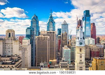 Philadelphia, Pennsylvania, USA downtown city skyline.