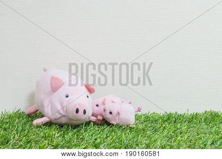 Closeup cute pink pig doll and three little pig on artificial grass and cream color wallpaper wall textured background with copy space