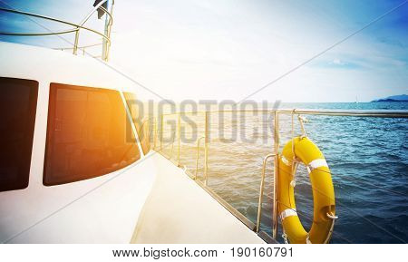 Holiday Concept - Yatch Sailing Against At Sunset
