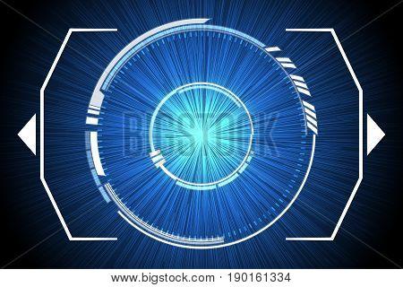 Blue Technology Inside Spaceship Background