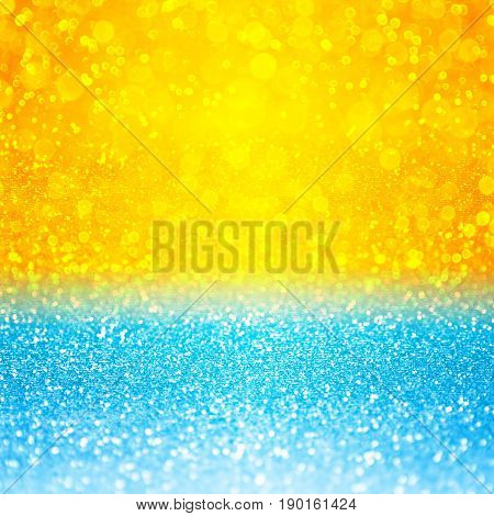 Abstract summer tropical blue and yellow sunset or sunrise sparkle party invite or sunny holiday vacation travel background over sea, lake, ocean, beach, pool or water bubbles pattern with sun design