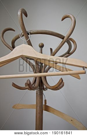 Old Wooden retro hangers - close up