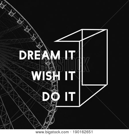Dream Wish Do It Life Motivation Positivity Attitude Possible Graphic Words