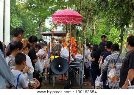 Ratchaburi Thailand - October 18 2016:Buddhist monks are blessing to people in the end of Buddhist Lent Day